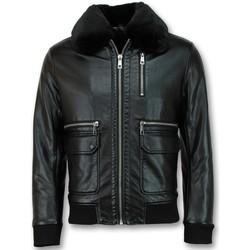 textil Herr Skinnjackor & Jackor i fuskläder Warren Webber Pilotjacka Skinn Faux Leather Jacket Svart