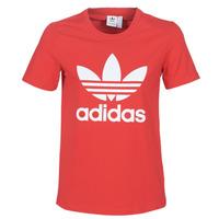 textil Dam T-shirts adidas Originals TREFOIL TEE Röd / Frodig