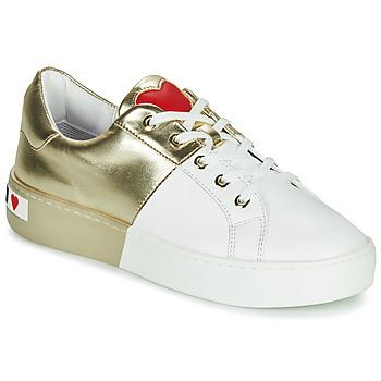 Skor Dam Sneakers Love Moschino BI-COLOR SHOES Vit / Guldfärgad