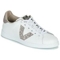 Skor Dam Sneakers Victoria TENIS PIEL GLITTER Vit / Rosa