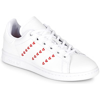 Skor Flickor Sneakers adidas Originals STAN SMITH J Vit / Röd / CŒur