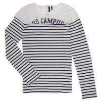 textil Flickor Långärmade T-shirts Ikks DELLYSE Vit / Svart
