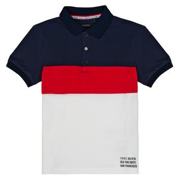 textil Pojkar Kortärmade pikétröjor Ikks LORIE Vit
