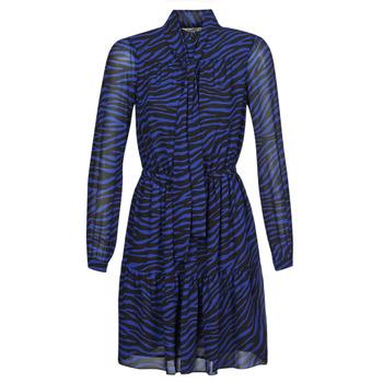 textil Dam Korta klänningar MICHAEL Michael Kors BOLD BENGAL TIER DRS Blå / Svart