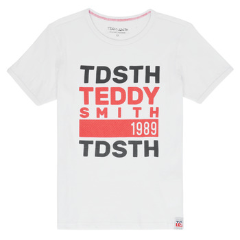 textil Pojkar T-shirts Teddy Smith DUSTIN Vit