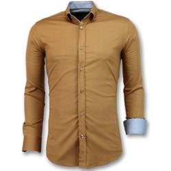 textil Herr Långärmade skjortor Tony Backer Italienska Tomma Slim Fit Brun