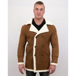textil Herr Kappor Tony Backer Suede Shearling Coat Camel Brun