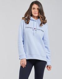 textil Dam Sweatshirts Tommy Hilfiger TH ESS HILFIGER HOODIE LS Blå / Himmelsblå