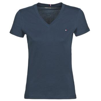 textil Dam T-shirts Tommy Hilfiger HERITAGE V-NECK TEE Marin