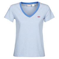 textil Dam T-shirts Levi's PERFECT VNECK Vit / Blå
