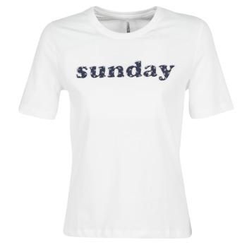 textil Dam T-shirts Only ONLSANNE Vit