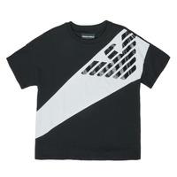 textil Pojkar T-shirts Emporio Armani Blaise Svart / Vit