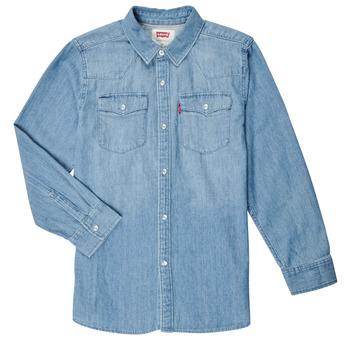 textil Pojkar Långärmade skjortor Levi's BARSTOW WESTERN SHIRT Blå