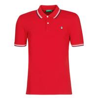 textil Herr Kortärmade pikétröjor Benetton GUERY Röd