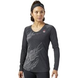 textil Dam Långärmade T-shirts Reebok Sport Crossfit Burnout Grafit