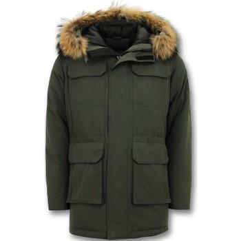 textil Herr Parkas Enos Vinter Parka Large L Fur Collar Grön