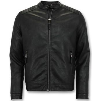textil Herr Skinnjackor & Jackor i fuskläder Enos Imitation Skinnjacka Biker Jacket ZMG Svart
