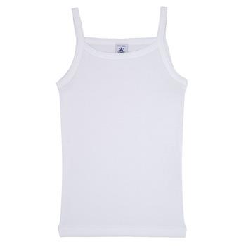 textil Flickor Linnen / Ärmlösa T-shirts Petit Bateau 53295 Vit
