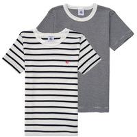 textil Pojkar T-shirts Petit Bateau  Vit / Blå