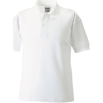 textil Pojkar Kortärmade pikétröjor Jerzees Schoolgear 65/35 Vit