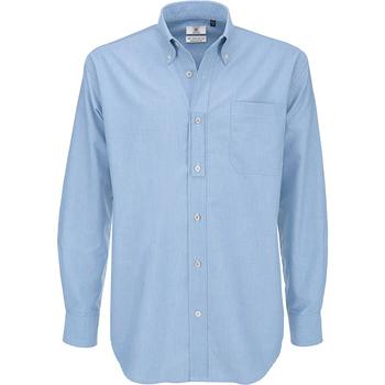 textil Herr Långärmade skjortor B And C SMO01 Oxford Blue