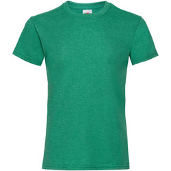 textil Flickor T-shirts Fruit Of The Loom 61005 Retro Heather Green