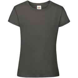 textil Flickor T-shirts Fruit Of The Loom 61017 Ljus grafit