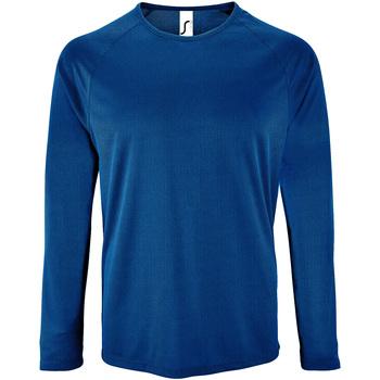 textil Herr Långärmade T-shirts Sols 2071 Kunglig blå