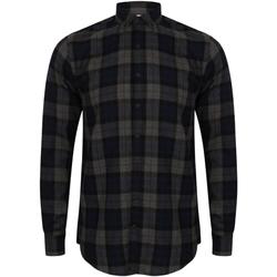 textil Herr Långärmade skjortor Skinni Fit Check Marinblå ruta