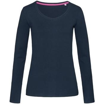 textil Dam Långärmade T-shirts Stedman Stars  Marina Blue