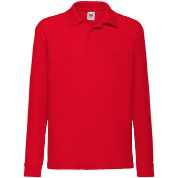 textil Pojkar Långärmade pikétröjor  Fruit Of The Loom 63201 Röd