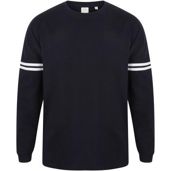 textil Herr Långärmade T-shirts Skinni Fit Slogan Oxford marinblått / vita ränder
