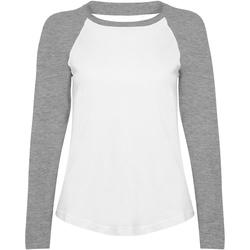 textil Dam Långärmade T-shirts Skinni Fit SK271 Vit / grått