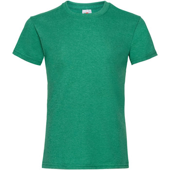 textil Flickor T-shirts Fruit Of The Loom Valueweight Retro Heather Green