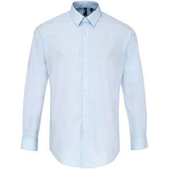 textil Herr Långärmade skjortor Premier PR207 Ljusblå