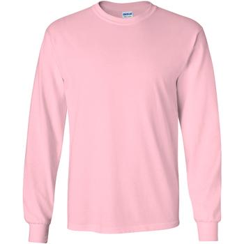 textil Herr Långärmade T-shirts Gildan 2400 Ljusrosa