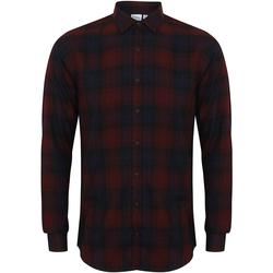 textil Herr Långärmade skjortor Skinni Fit Check Burgundy Check