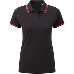 textil Dam Kortärmade pikétröjor Asquith & Fox AQ021 Svart/röd