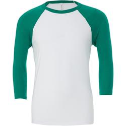 textil Herr Långärmade T-shirts Bella + Canvas CA3200 Vit/Kelly Green