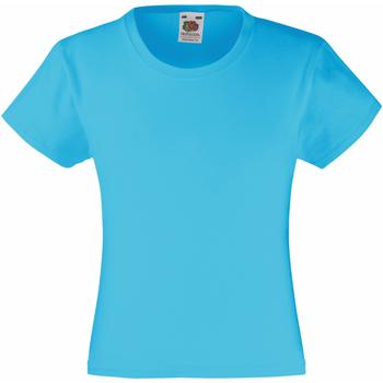textil Flickor T-shirts Fruit Of The Loom 61005 Azurblått