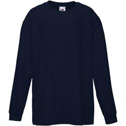textil Barn Långärmade T-shirts Fruit Of The Loom 61007 Djupt marinblått