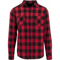 textil Herr Långärmade skjortor Build Your Brand BY031 Svart/röd