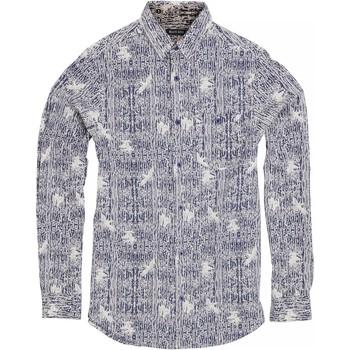 textil Herr Långärmade skjortor Brave Soul Idris Bläck/ Optic White