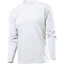 textil Herr Långärmade T-shirts Stedman  Vit