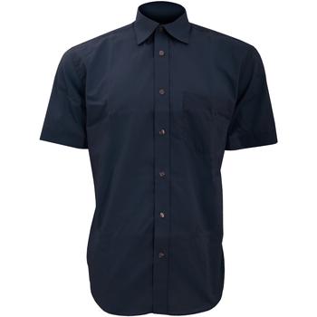 textil Herr Kortärmade skjortor Kustom Kit KK102 Mörkblått