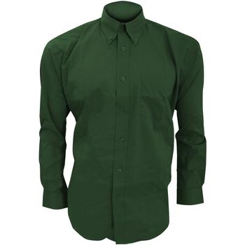 textil Herr Långärmade skjortor Kustom Kit KK105 Flaskegrön