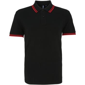 textil Herr Kortärmade pikétröjor Asquith & Fox AQ011 Svart/röd