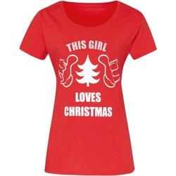 textil Dam T-shirts Christmas Shop CJ212 Röd