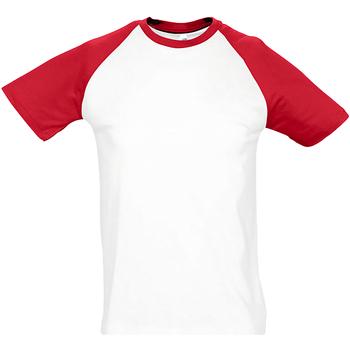 textil Herr T-shirts Sols 11190 Vit/Röd