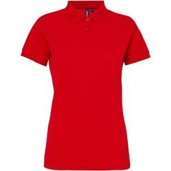 textil Dam Kortärmade pikétröjor Asquith & Fox AQ025 Körsbärsröd